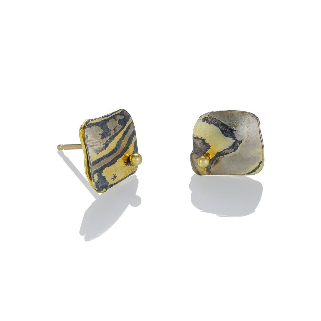 lisa jane grant mokume mixed meta Aspen jewelry gold 14k 18k Palladium White gold Yellow gold contemporary etched rough edge organic Maine handmade unique Jewellery Earrings Studs OIa Santorini Greece