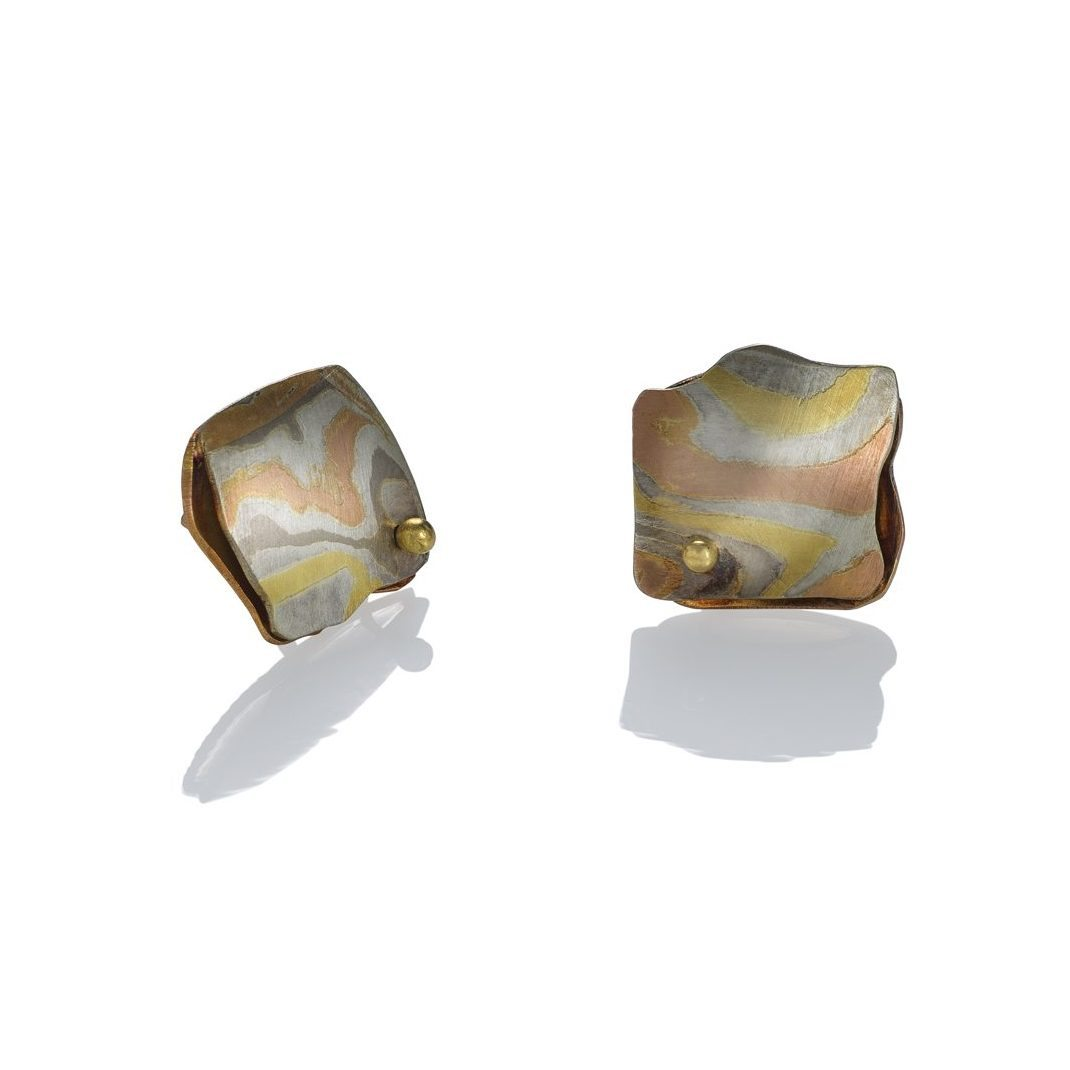 lisa jane grant mokume Sedona mixed metal jewelry gold 14k 18k Yellow pink rose red palladium white gold contemporary rough edge oxidised Maine handmade unique Jewellery Earrings studs OIa Santorini Greece