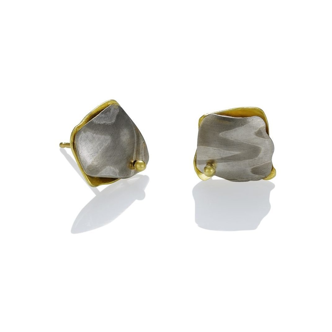 lisa jane grant Arctic mokume mixed metal jewelry gold 14k 18k yellow Palladium White gold contemporary rough edge organic Maine handmade unique Jewellery Earrings Studs OIa Santorini Greece