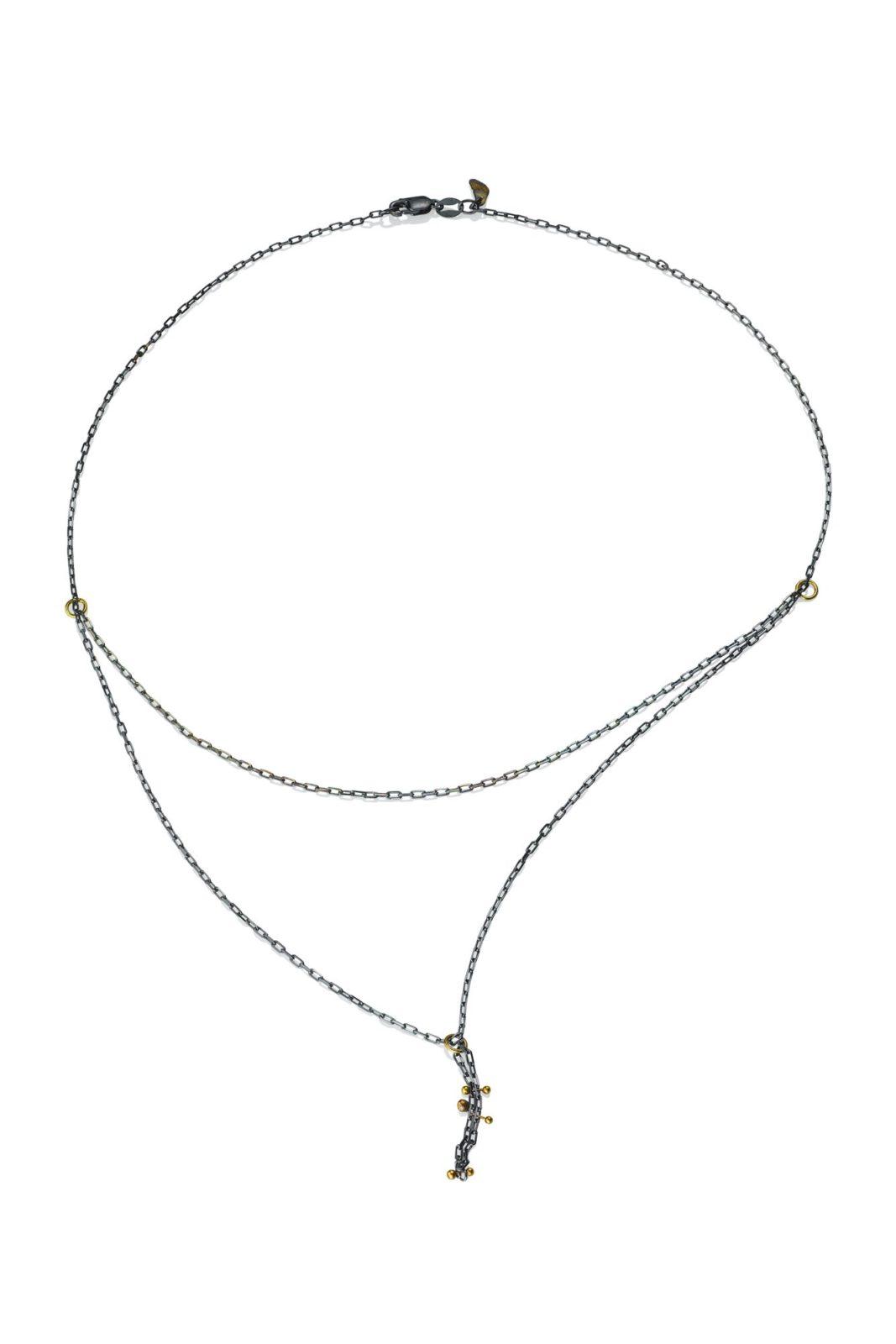 lisa jane grant mokume mixed metal jewelry 18k Yellow gold contemporary necklace organic Maine handmade unique jewellery pendant/ necklace oxidized oxidised