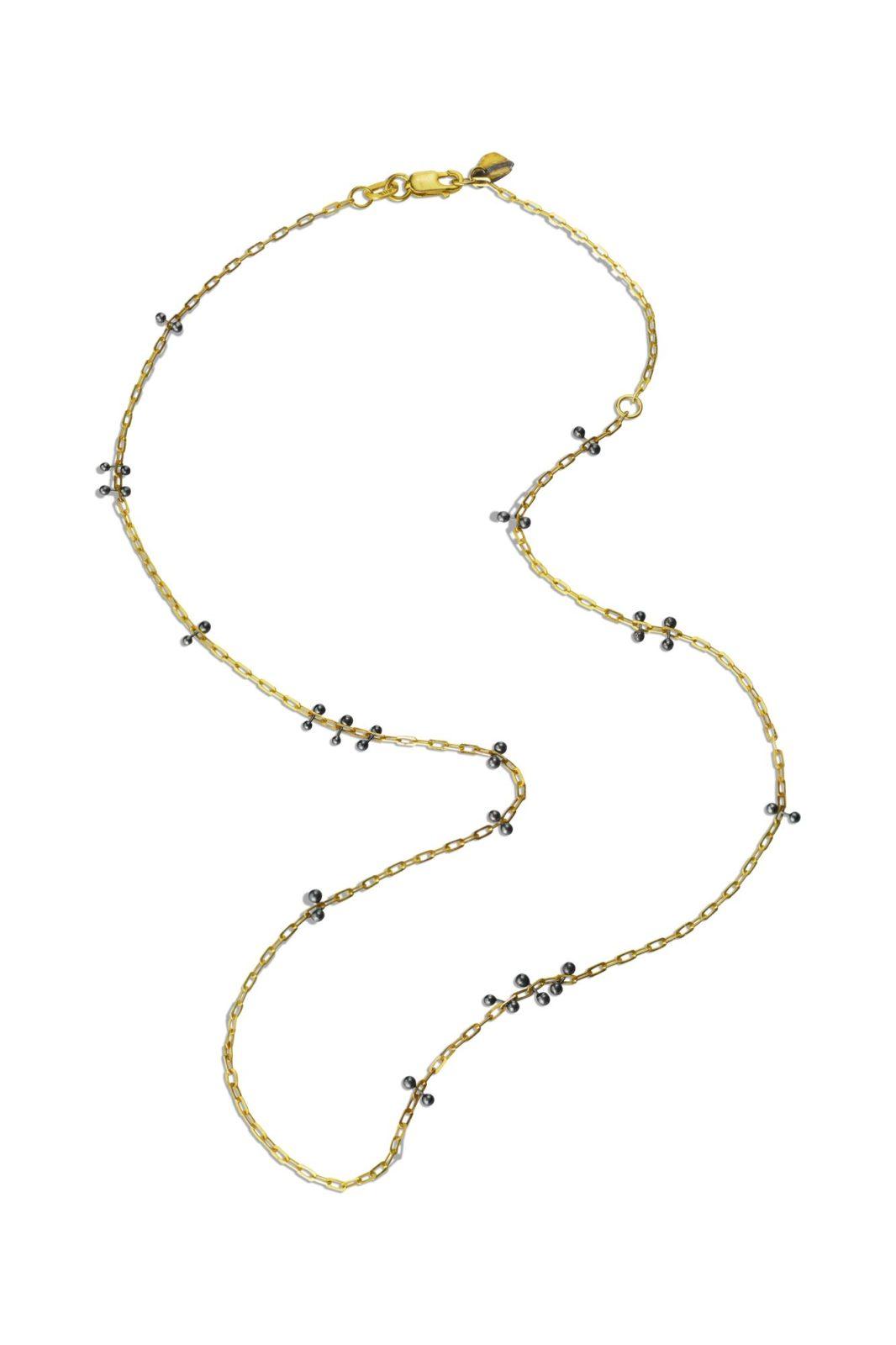 lisa jane grant mokume mixed metal jewellery jewelry gold 14k 18k Yellow gold contemporary necklace organic Maine handmade unique jewellery oxidized oxidised
