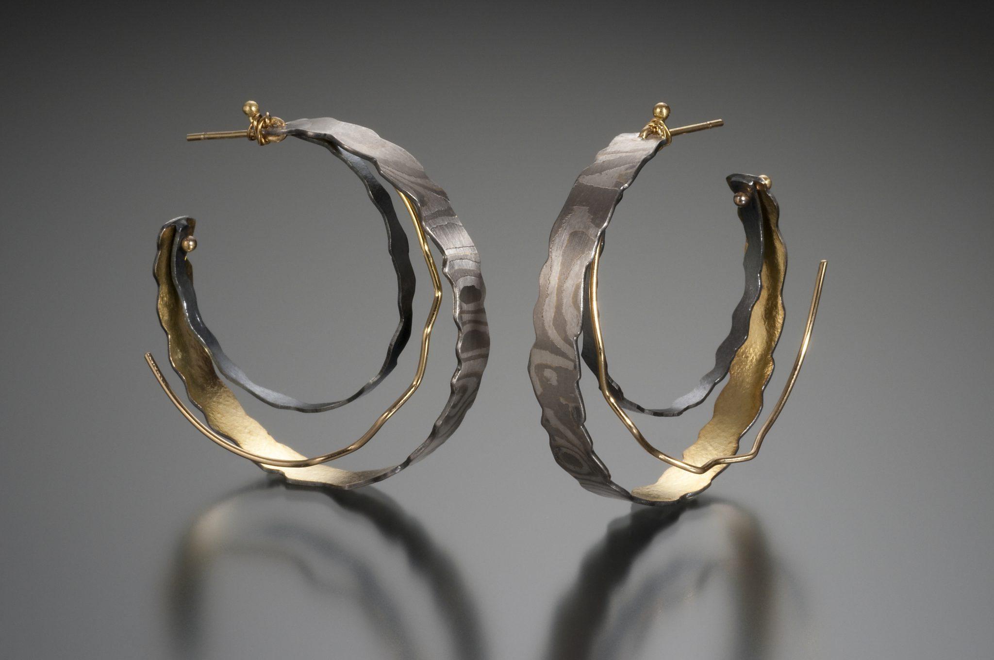 lisa jane grant, mokume, mixed metal jewelry gold 14k 18k yellow Palladium White gold contemporary rough edge organic Maine handmade unique Jewellery Earrings hoops Cali Columbia