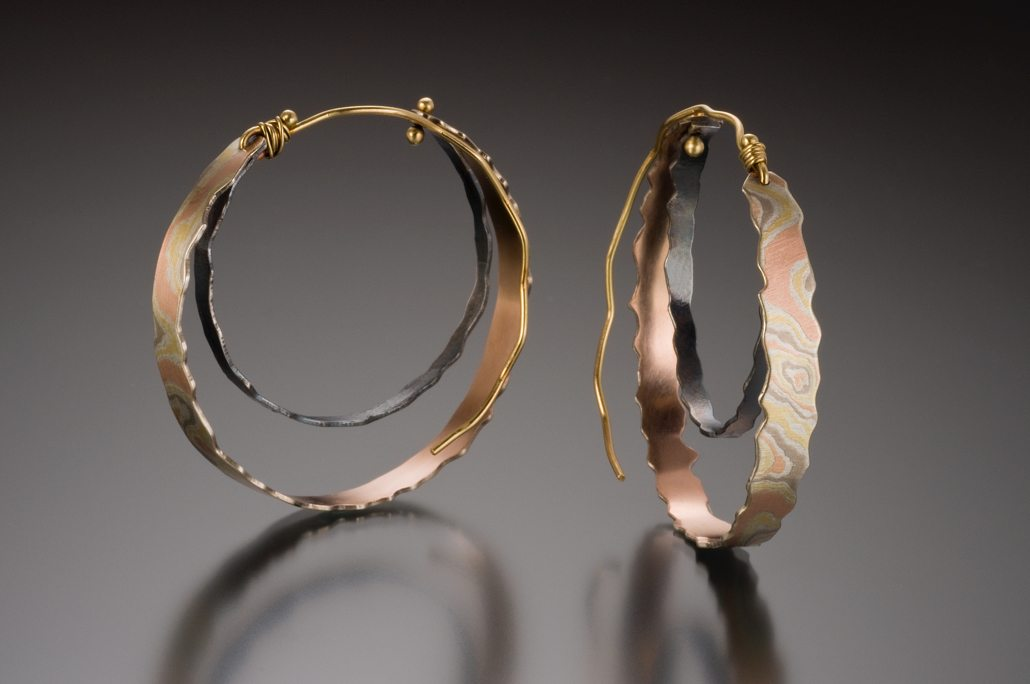 lisa jane grant mokume mixed metal jewelry gold 14k 18k Yellow pink rose red palladium white gold contemporary rough edge oxidised Maine handmade unique Jewellery Earrings Hoops Cali Columbia