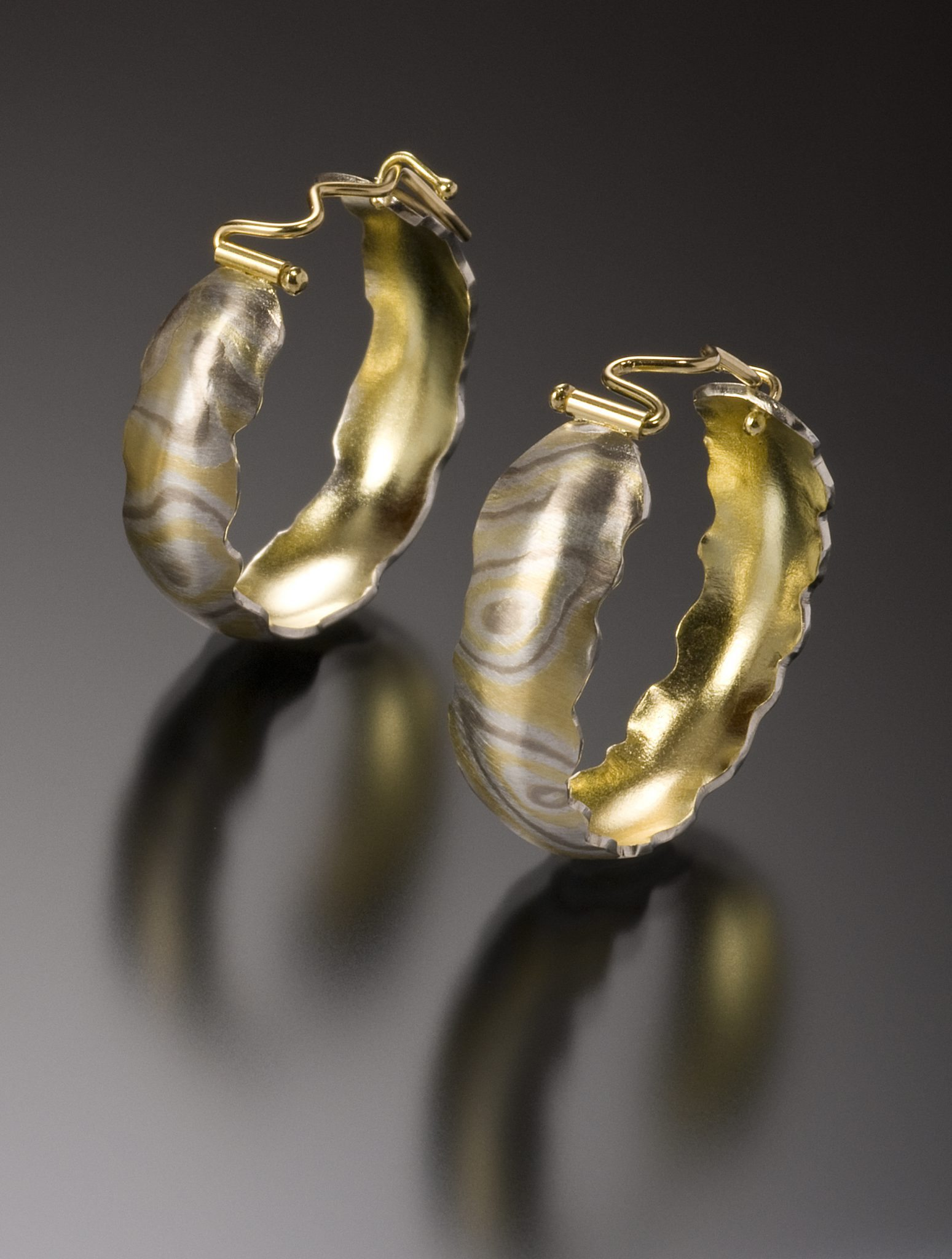 lisa jane grant mokume mixed meta Aspen jewelry gold 14k 18k Palladium White gold Yellow gold contemporary etched rough edge organic Maine handmade unique Jewellery Earrings Hoops Cali Columbia