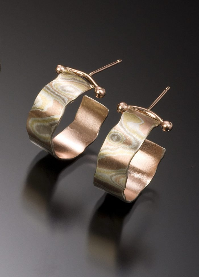 lisa jane grant, mokume, mixed metal jewelry gold 14k 18k yellow Palladium White gold contemporary rough edge organic Maine handmade unique Jewellery Earrings hoops Cali Columbia