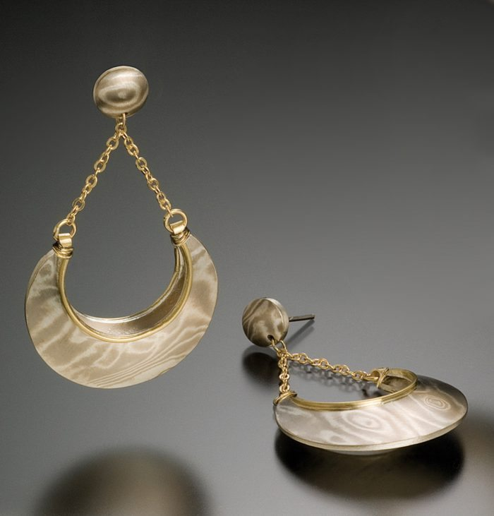 lisa jane grant Arctic mokume mixed metal jewelry gold 14k 18k yellow Palladium White gold contemporary crescent organic Maine handmade unique Jewellery Earrings Jaipur India Rajasthan pink city