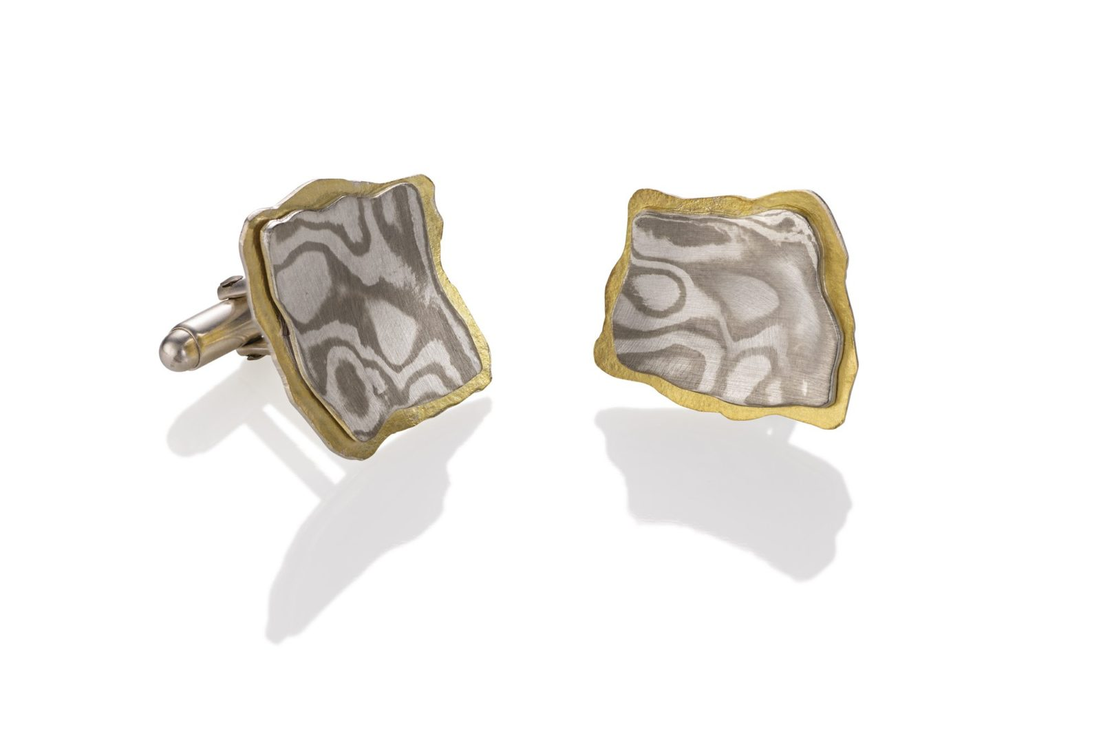 lisa jane grant mokume mixed metal jewelry gold 14k 18k yellow Palladium White gold contemporary men's jewelry jewellery Rockport Maine handmade unique